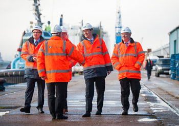 manuel kadi welcomes Chancellor George Osbourne to the Fruit Terminal at the Port of Southampton