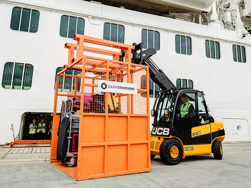 baggage handling port of southampton - image courtesy of JCB
